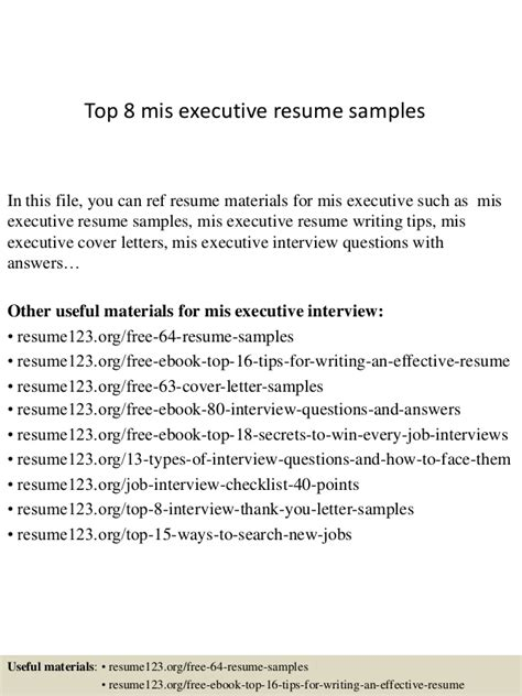Mis Resume Format by Top 8 Mis Executive Resume Sles