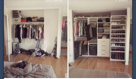 before and after closet organization crafty