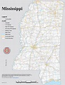 Large detailed map of Mississippi with cities and towns