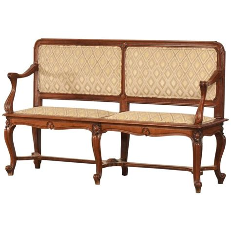 Antique Benches And Settees by Antique Nouveau Period Walnut Settee Bench