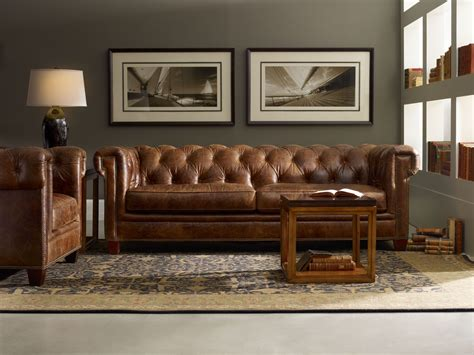Chester Dark Walnut Leather Living Room Set From Hooker