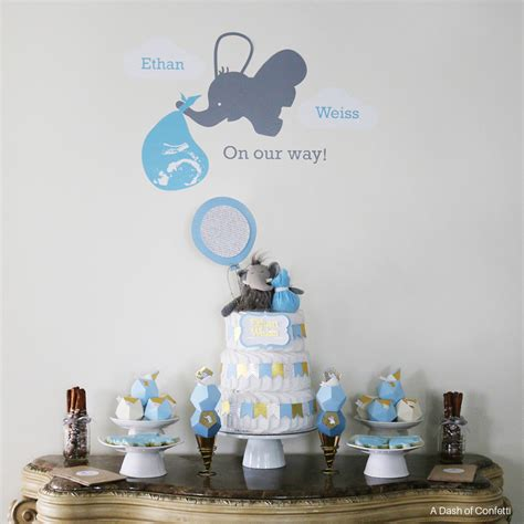 geometric elephant themed baby shower