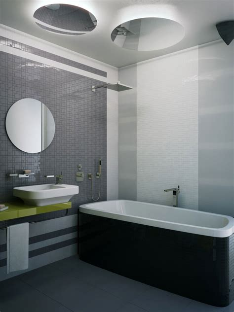 Small Bathroom Images Modern Awesome Modern Small Grey Bathroom White Tub Arts Design