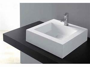 Vasque En Corian : vasques vasque poser vasque type corian 48 x 48 cm en ~ Premium-room.com Idées de Décoration