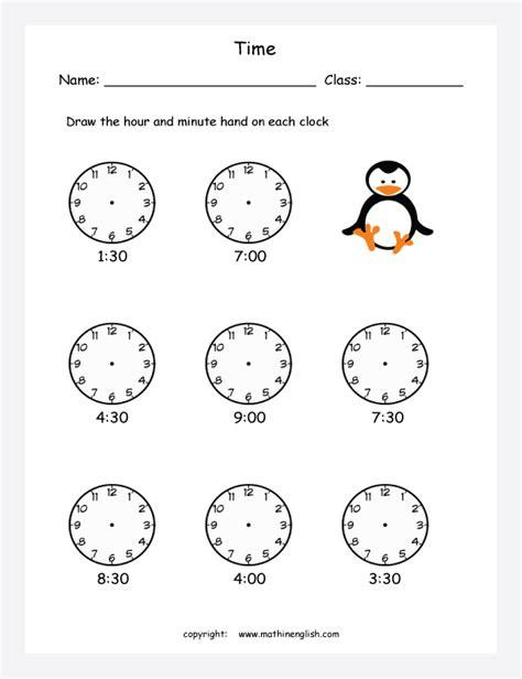 maths clock worksheets  grade