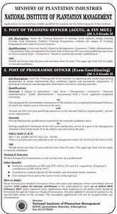 Plantation Management Vacancies - Job Vacancies