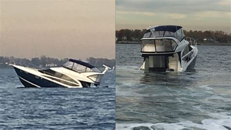 Sinking Boat by Stamford Firefighters Rescue 12 From Sinking Boat
