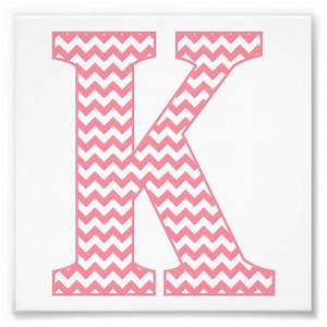 Classic preppy pink chevron letter k monogram photo print for Chevron letter k