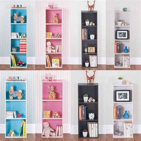 One Shelf Bookcase by Wooden 1 3 4 Tiers Bookcase Shelf Free Standing