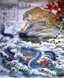 Chinese Dragon and Tiger Painting