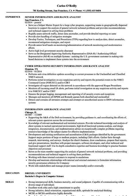 information assurance analyst resume samples velvet jobs