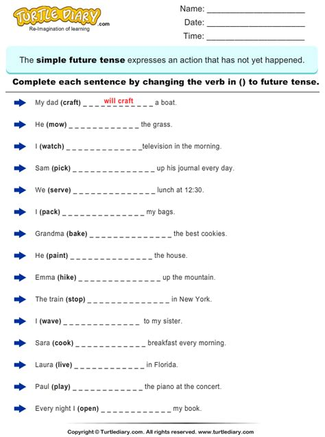 complete the sentence by changing the verbs to future