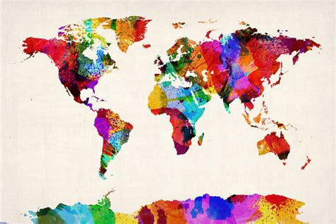 map of the world abstract painting ii can michael