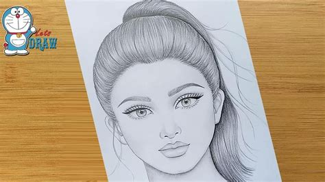 draw  pretty girl  ponytail hairstyle