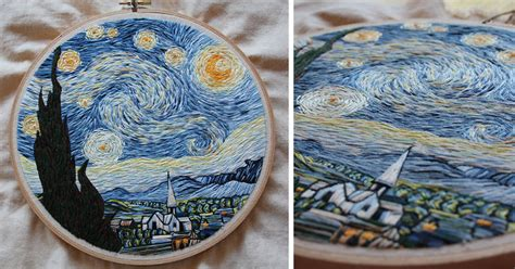 recreated van goghs starry night   needle