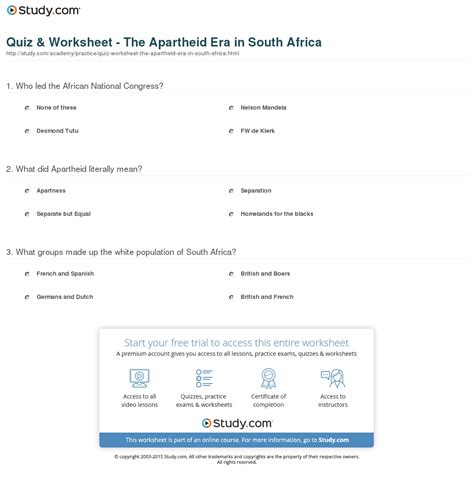 quiz worksheet the apartheid era in south africa