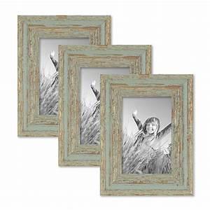 Bilderrahmen Vintage Set : 3er set vintage bilderrahmen 10x15 cm grau gr n shabby chic massivholz mit glasscheibe und ~ Buech-reservation.com Haus und Dekorationen