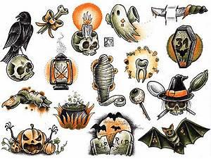 halloween tattoo flash | Tumblr