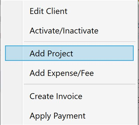 Chronobeans Invoice Program  Add Project Menu From Right