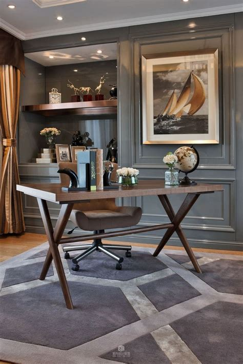sophisticated dark grey home office decor luxury office