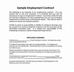 job contract templates printable sample employment With full time employment contract template