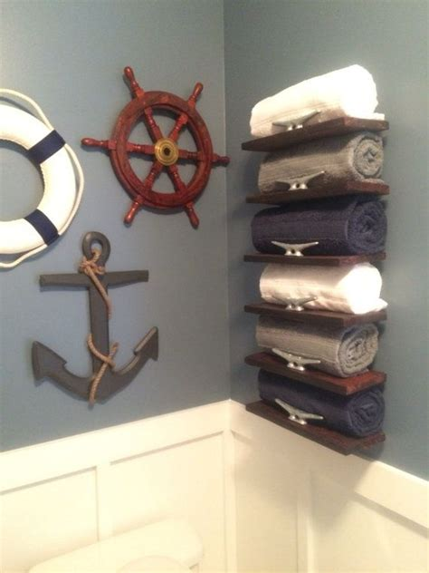 bathroom themes handmade pallet wood nautical towel rack by onegirlandasaw Anchor