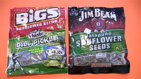 jim beam sunflower seeds snack review bigs vlasic dill pickle jim beam jalapeno sunflower seeds youtube