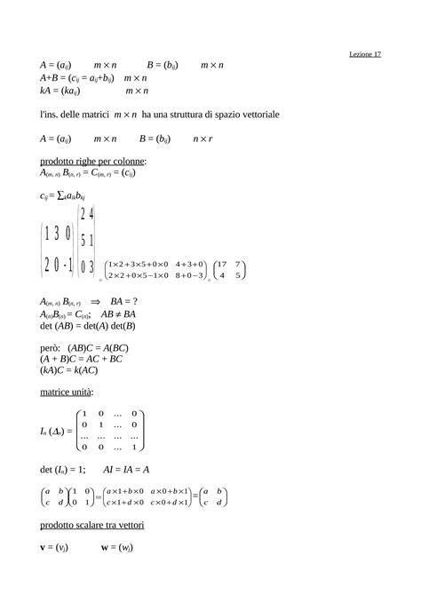 dispense matematica generale operazioni tra matrici dispense
