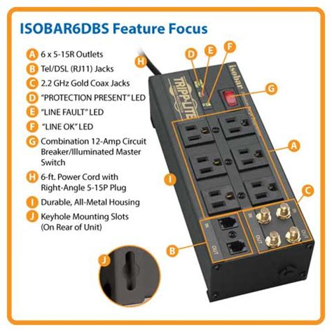 features protector cord power surge tel tripp lite newegg modem 2850 coax isobar joules outlet protection strip feet key outlets