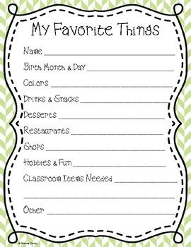 my favorite things list template my favorite things gifts questionnaire template by brenda coney
