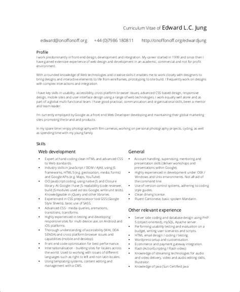 Front End Web Developer Resume by 10 Sle Web Developer Resumes Sle Templates