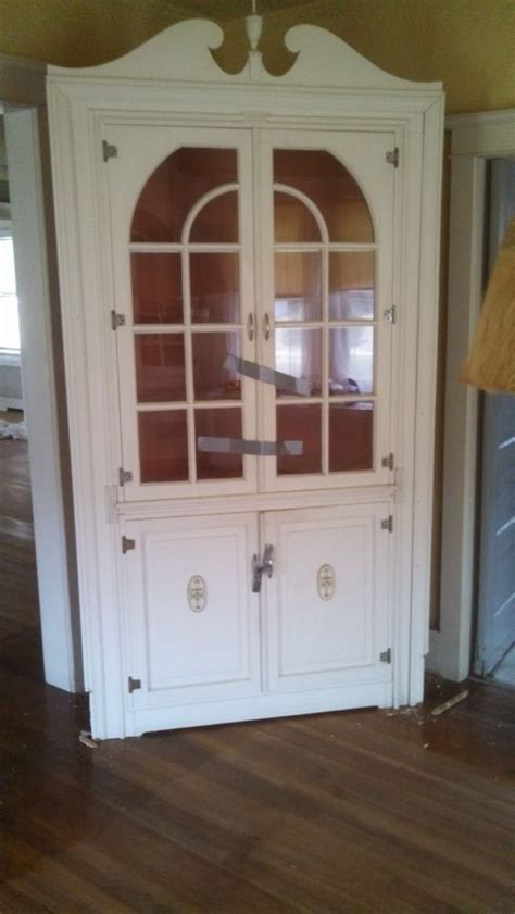 Ebay Cabinets With Glass Doors by Vintage Antique Corner Cabinet With Glass Doors 48 X 92
