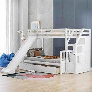 Euroco, Wood, Stairway, Twin, Over, Full, Bunk, Bed, With, 3, Storage, Drawers, In, The, Steps, 2, Under, Bed