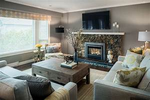 stone fireplace and grey living room paint color ideas With how to pick the best living room lamps