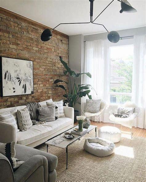 48 marvelous shabby chic living room brick wall