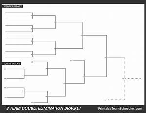 printable 8 team double elimination bracket With double elimination tournament bracket template