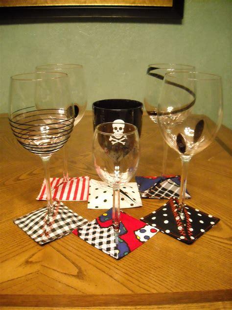 slip  wine glass coaster   sew  fabric coaster