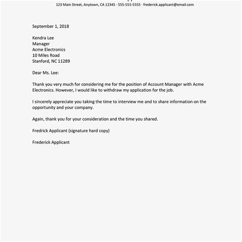 writing a letter of resignation sle letters withdrawing a application 11289
