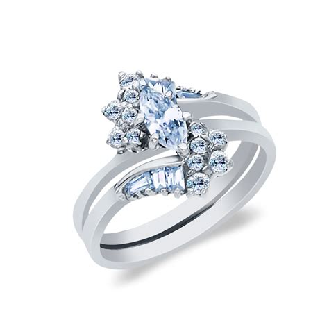 white solid gold  ct marquise cut cubic zirconia