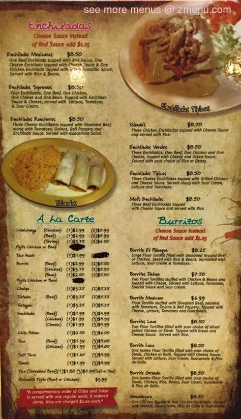 menu  el palenque restaurant cave city arkansas  zmenu