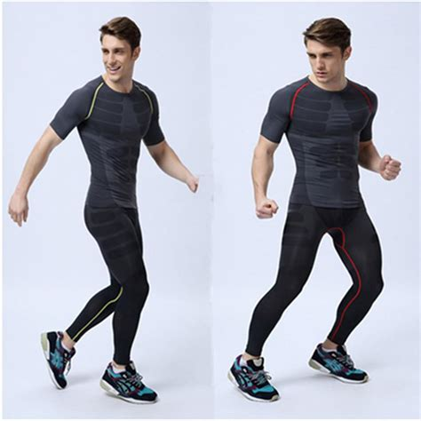 Man Gym Clothes Sets Short Sleeve T Shirt And Long Pants Sport Clothing Wicking Compression ...