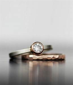 wedding ring set rose gold stacking alternative With unique his and hers wedding rings