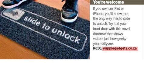 Slide To Unlock Doormat by Slide To Unlock Doormat Vodacom Now 2011 Yuppie Gadgets