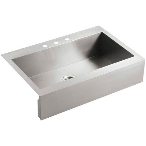 drop in kitchen sink single bowl kohler vault drop in farmhouse apron front stainless steel