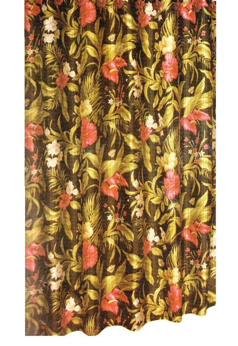 black floral hibiscus fabric shower curtain set with hooks