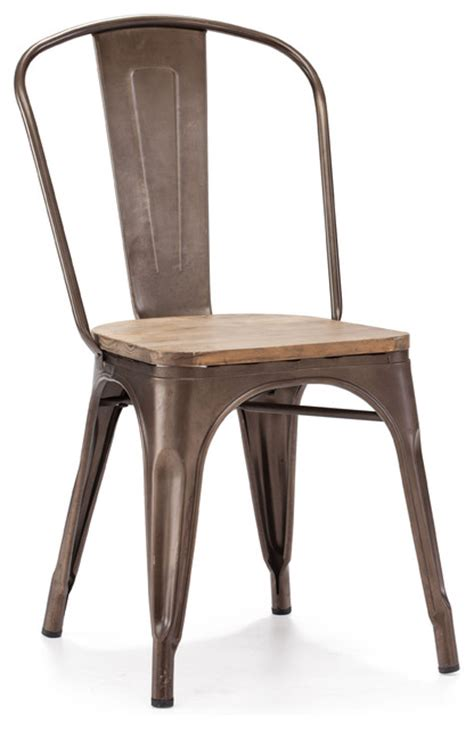 elio rustic wood chairs set of 2 industrial dining