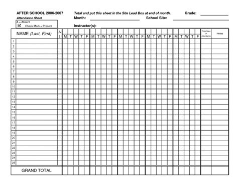 blank attendance sheets resume format printable templates
