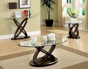atwood dark walnut solid wood cross oval glass top coffee With oval glass coffee table set