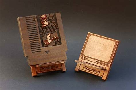 handmade nes game cartridge shaped wooden raspberry pi  case gadgetsin
