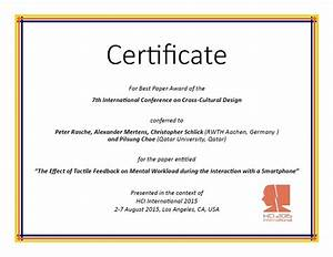 international conference certificate templates - cross cultural design best paper award hci international
